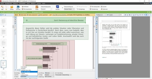 Screenshot Abbyy Finereader Seitenanalyse