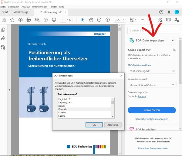 Screenshot des Adobe Readers mit der Funktion Export PDF
