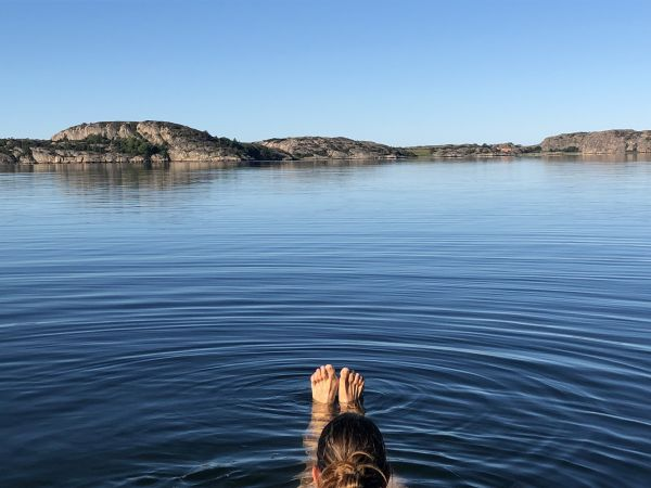 Schwimmen im Sommerbüro